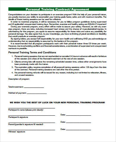 personal training agreement pdf