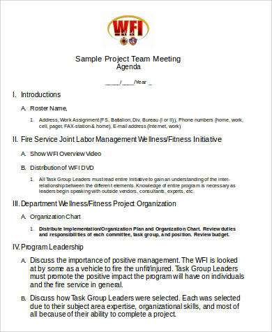 project team meeting agenda