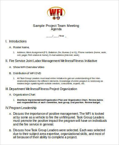 project team meeting agenda