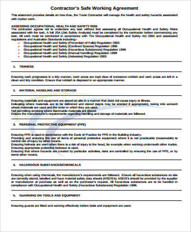 10 Sample Contractor Agreements Pdf Doc Sample Templates