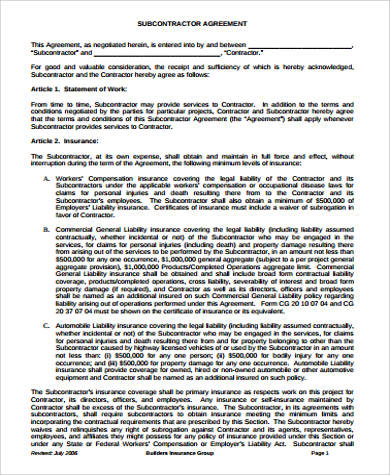 sub contractor agreement example