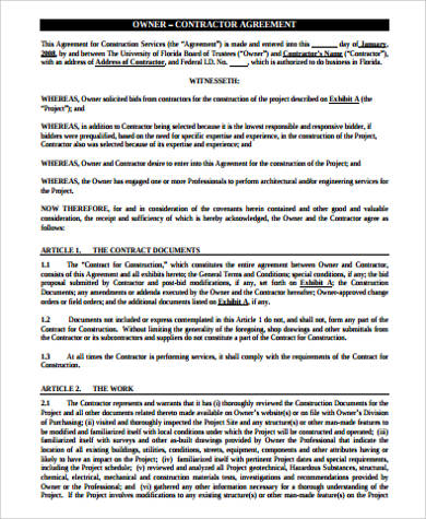 contractor owner agreement pdf