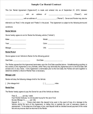 9 free sample rental agreement forms sample templates for Car deposit contract template
