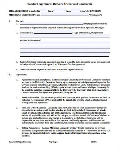 standard contractor agreement example