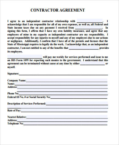 Sample Contractor Agreement - 10+ Examples In Word, Pdf