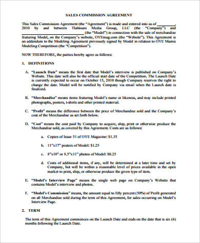 Sample Commission Agreement   Examples In Word Pdf