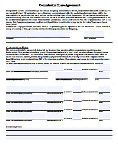 10 sample commission agreements sample templates for Commission sharing agreement template