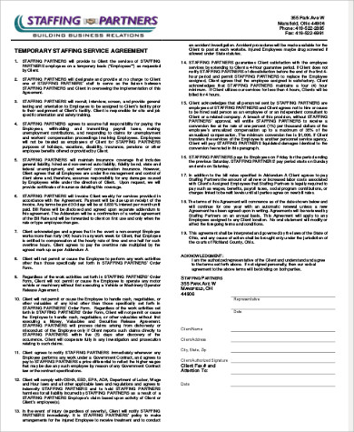 temporary staffing employment contract