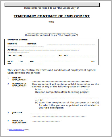 10 temporary employment contract samples sample templates for Temporary employment contract template free