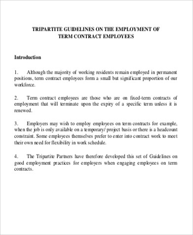 Employment Contract Form Temporary Sample
