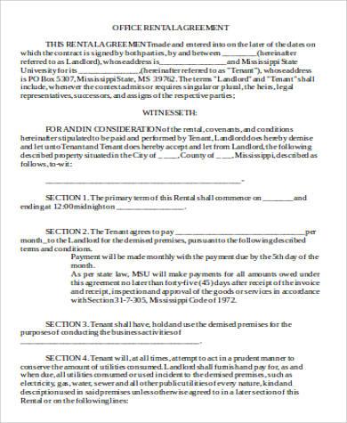 Office Rental Agreement In Word