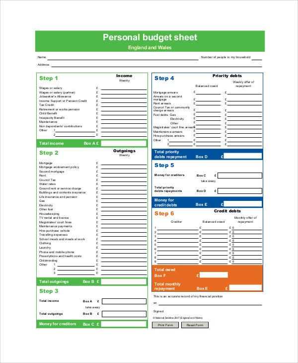 sample personal budget sheet