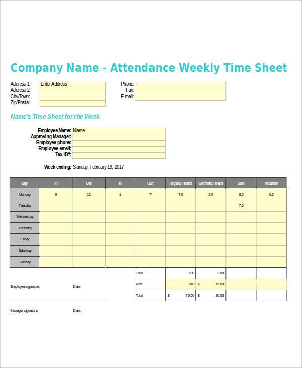 weekly time sheet sample