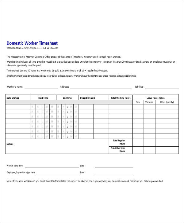 domestic worker time sheet