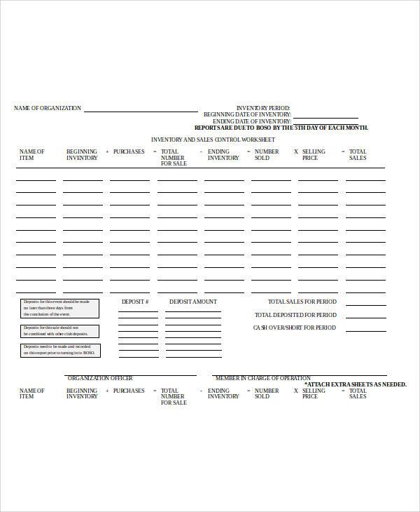 stock inventory spread sheet