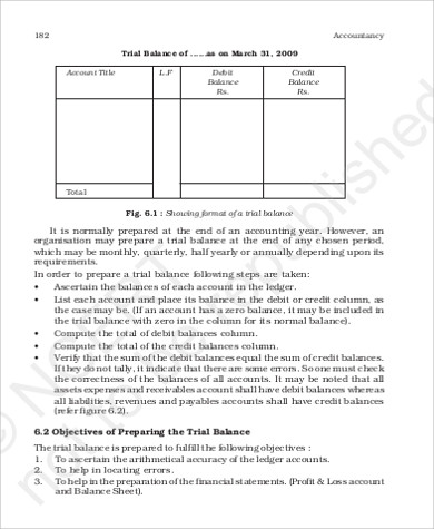printable trial balance sheet