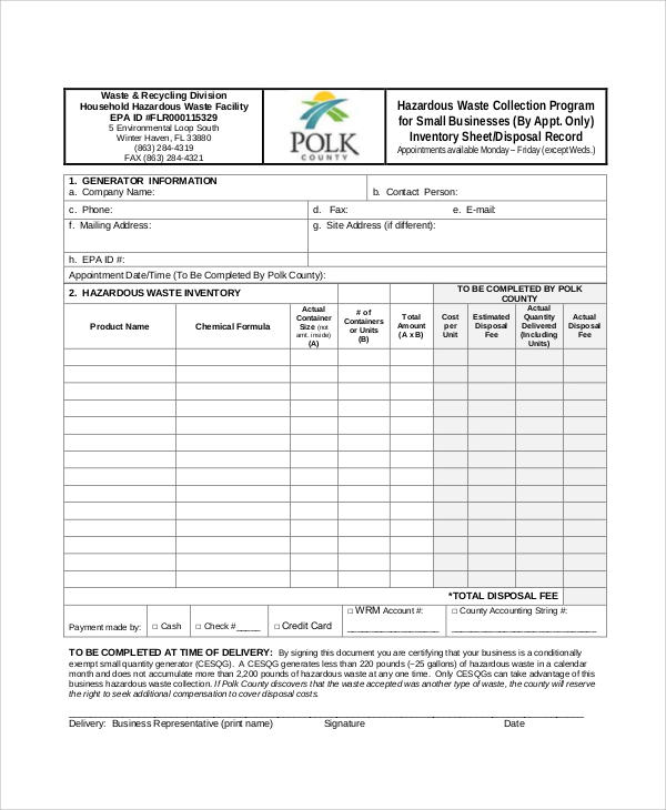 small business inventory spread sheet