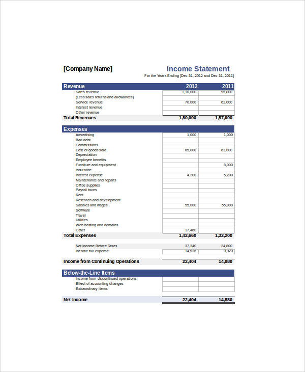income statement format xls