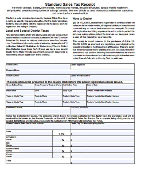 Sample Sales Receipt Form   Examples In Word Pdf
