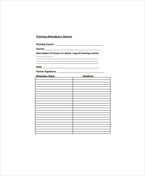 training attendance record sheet