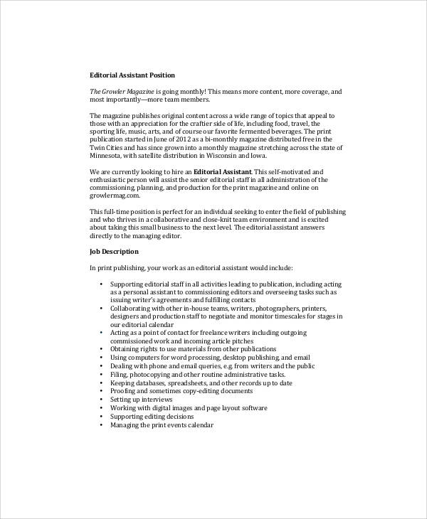 assistant magazine editor job description