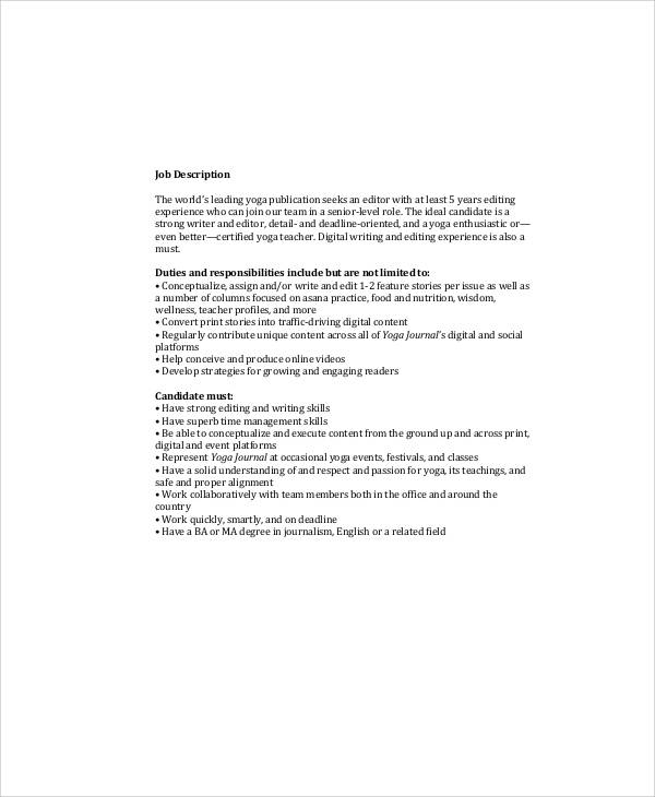 Magazine Editor Job Description Sample - 9+ Examples In Word, Pdf