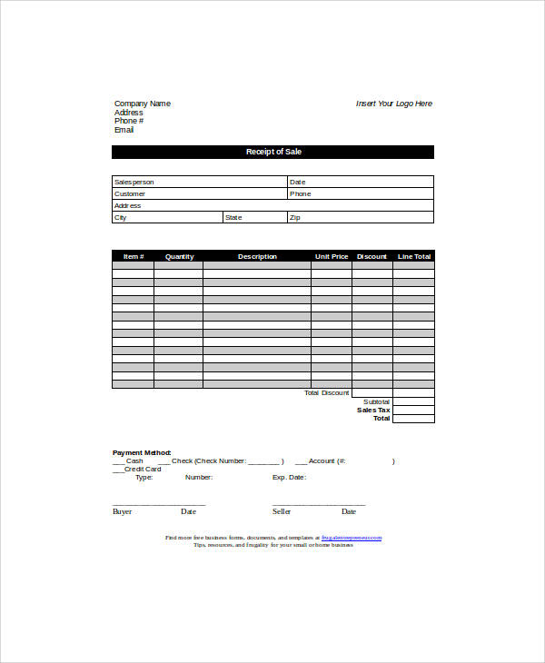 Sample Sales Receipt Form - 6+ Examples in Word, PDF