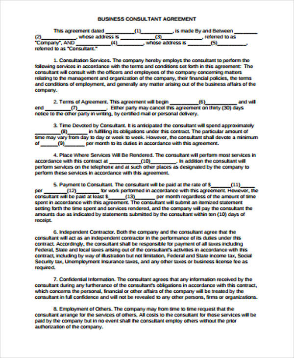 Sample Business Agreement   Examples In Word Pdf