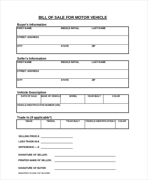 Ga Bill Of Sale For Car >> Sample Sales Receipt Form - 6+ Examples in Word, PDF