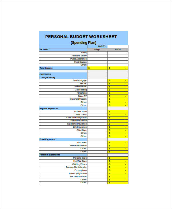 personal budget and weekly expenses sheet