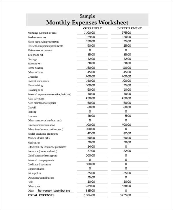 monthly expenses sheet