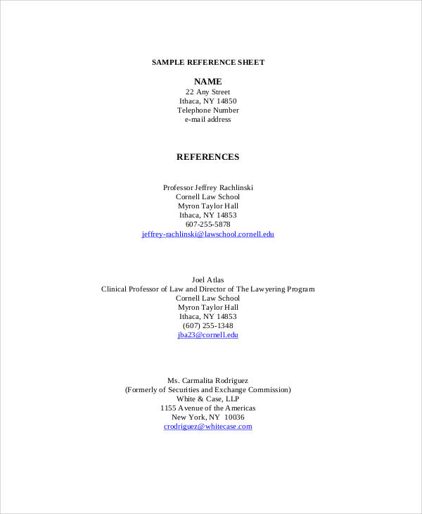 reference sheet format for resume