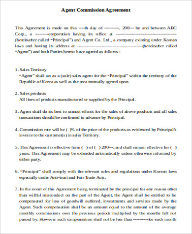 sale of business commission agreement