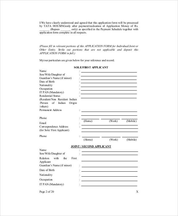 Sample Apartment Application Form   Examples In Word Pdf