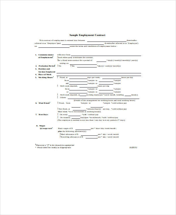 Standard Employment Contract Sample   Examples In Word Pdf