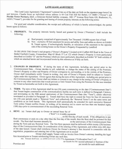 Simple land lease agreement images agreement letter format sample lease agreement 42 examples in word pdf altavistaventures Images