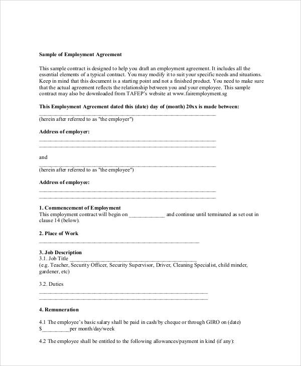sample of employment contract agreement