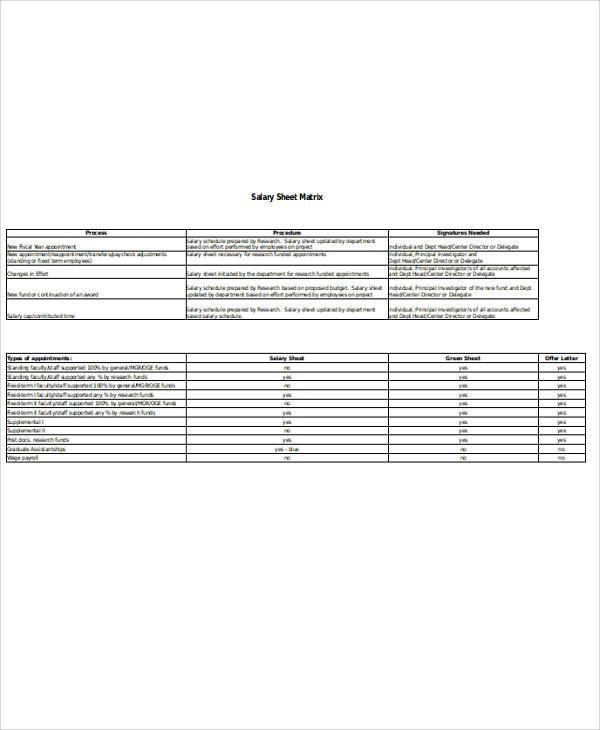 sample salary sheet