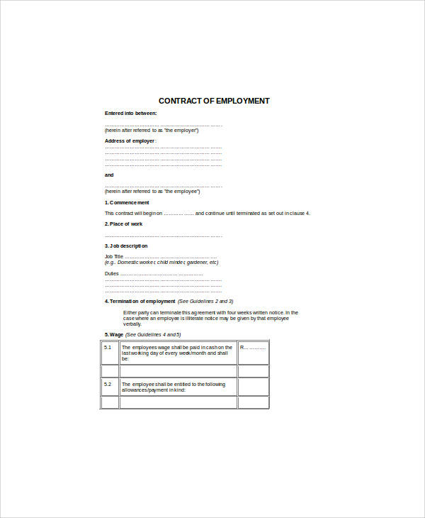7 Standard Employment Contract Samples Sample Templates