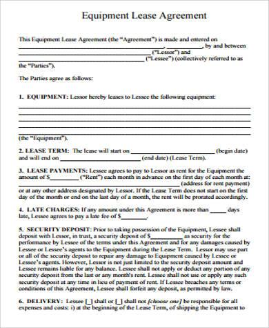 equipment lease agreement1