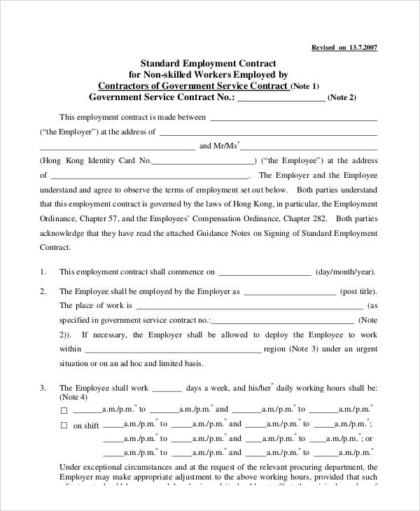 Standard Employment Contract Sample - 7+ Examples In Word, Pdf