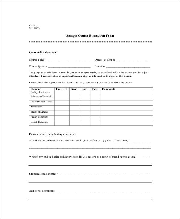 sample course evaluation sheet