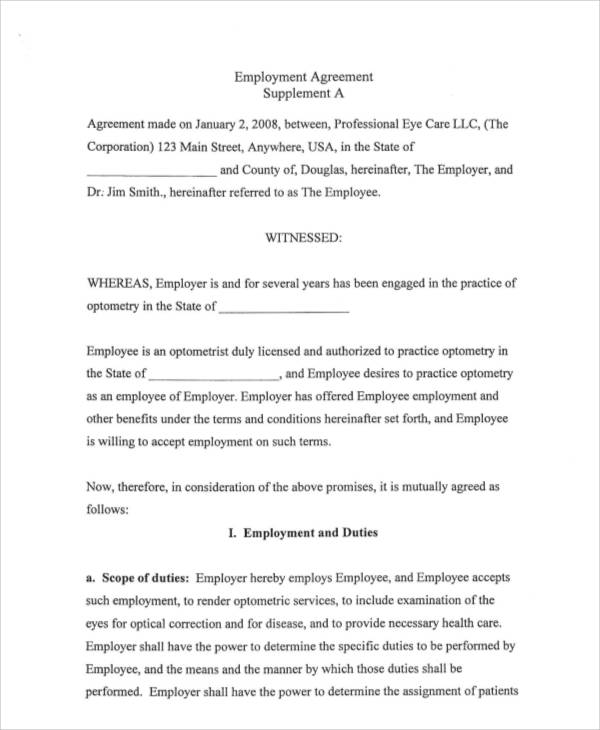 7+ Standard Employment Contract Samples | Sample Templates