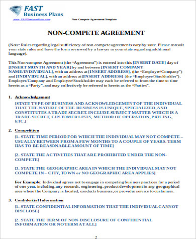 Sample Business NonCompete Agreement   Examples In Word Pdf