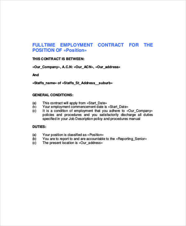 standard employment contract sample