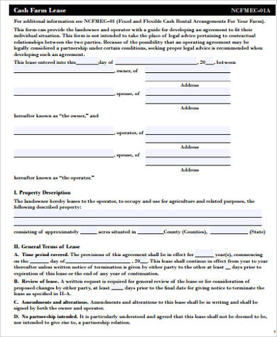 42 sample lease agreements sample templates for Farm rental agreement template