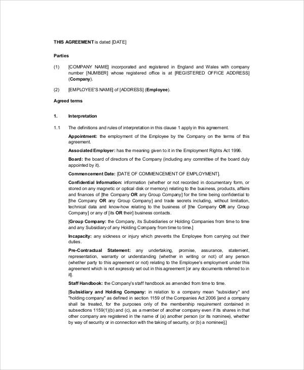 senior executive employment contract pdf