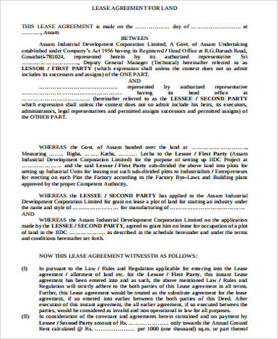blank land lease agreement