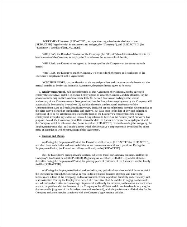 Executive Employment Contract Sample   Examples In Word Pdf