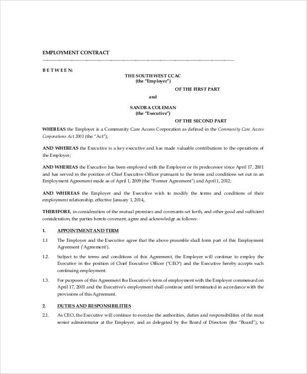 Executive Employment Contract Sample - 9+ Examples In Word, Pdf